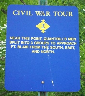 Quantrill's Raiders Prepare to Attack Fort Blair Marker image. Click for full size.