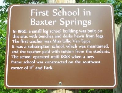 First School in Baxter Springs Marker image. Click for full size.