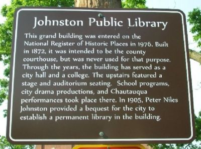 Johnston Public Library Marker image. Click for full size.