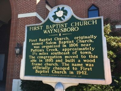 First Baptist Church Waynesboro Marker image. Click for full size.