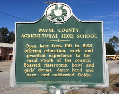 Wayne County Agricultural High School Marker image. Click for full size.