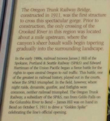 The Oregon Trunk Railroad Bridge Marker Text image. Click for full size.