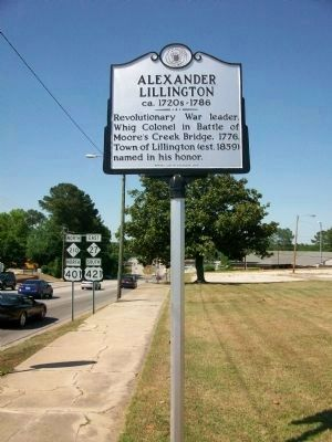 Alexander Lillington Marker (facing north on S Main St) image. Click for full size.