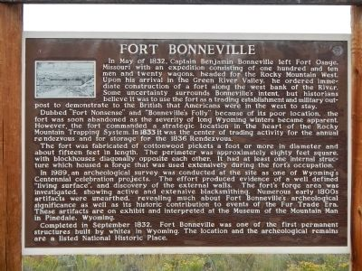 Fort Bonneville Marker image. Click for full size.