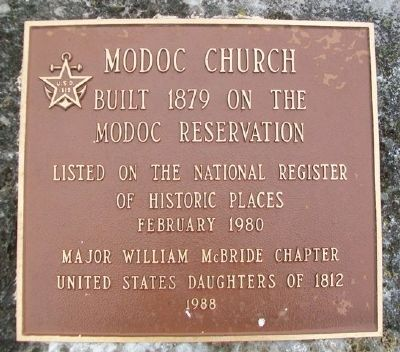 Modoc Church Marker image. Click for full size.