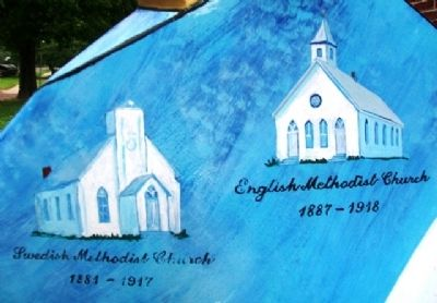 "Historic Lindsborg Methodist Churches on ""Methodist Mare"" image. Click for full size."