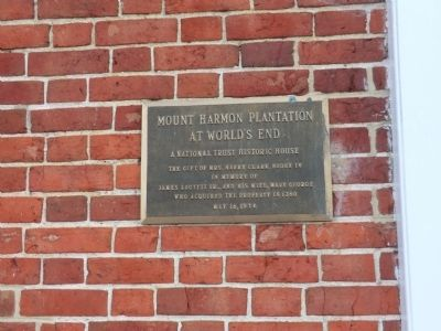Mount Harmon Plantation at World's End Marker image. Click for full size.
