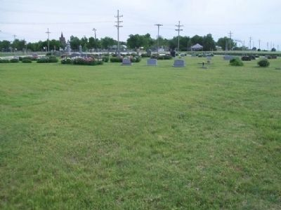 Santa Fe Trail Ruts (Swales) in rear of Lutheran Cemetery image. Click for full size.