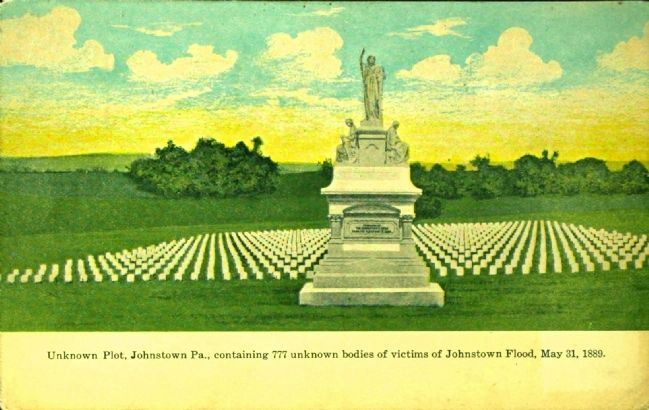 <i> Unknown Plot, Johnstown, Pa. Containing 777 unknown bodies�</i> image. Click for full size.