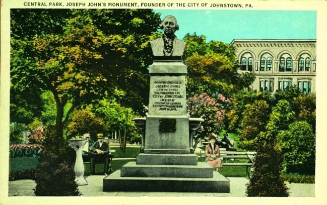 <i>Central Park, Joseph John&#39;s Monument, Founder of the CIty of Johnstown, Pa.</i> image. Click for full size.