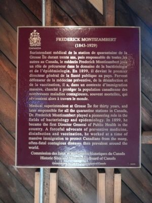 Frederick Montizambert plaque, inside the Disinfection Building image. Click for full size.