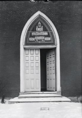 <i>FRONT DOORWAY - WEST - First Presbyterian Church, East Fourth & North Broad Streets,�</i> image. Click for full size.