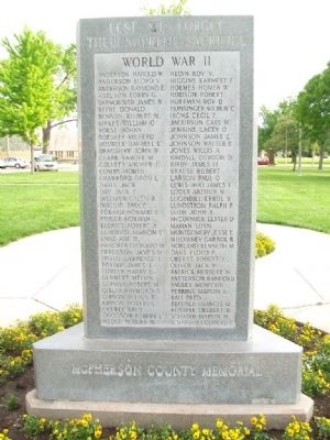 McPherson County War Memorial (Side B) image. Click for full size.