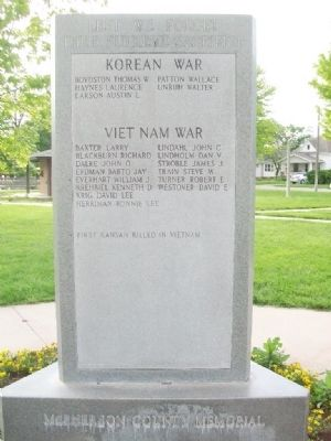 McPherson County War Memorial (Side C) image. Click for full size.
