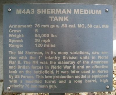 M4A3 Sherman Medium Tank Marker image. Click for full size.