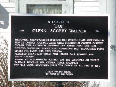 "A Tribute to ""Pop"" Glenn Scobey Warner Marker image. Click for full size."