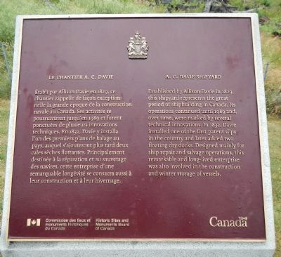 A.C. Davie Shipyard Marker image. Click for full size.