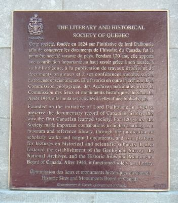 The Literary and Historical Society of Quebec Marker image. Click for full size.