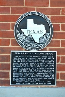 Texas & Pacific Railway Depot Marker image. Click for full size.