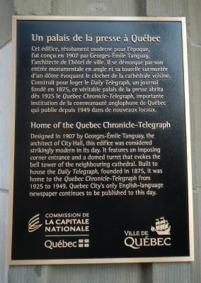 Home of the Quebec Chronicle-Telegraph Marker image. Click for full size.