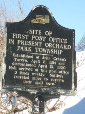 Site of First Post Office in Present Orchard Park Township Marker image. Click for full size.