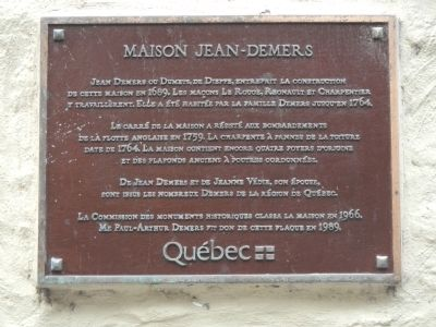 Maison Jean-Demers Marker image. Click for full size.