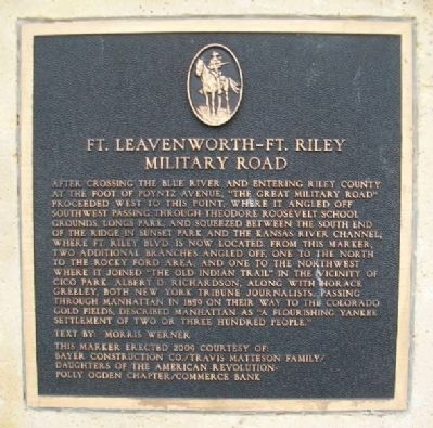 Ft. Leavenworth - Ft. Riley Military Road Marker image. Click for full size.