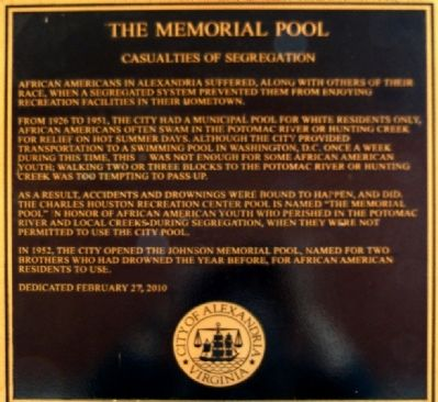 The Memorial Pool Marker image. Click for full size.