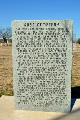Ross Cemetery Marker image. Click for full size.