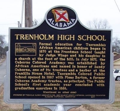 Trenholm High School Marker, side 1 image. Click for full size.
