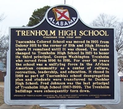 Trenholm High School Marker, side 2 image. Click for full size.