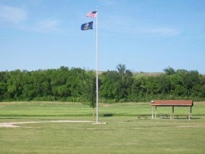 Oregon Trail Park Flag Pole image. Click for full size.