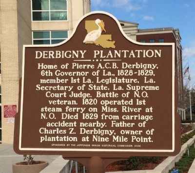 Derbigny Plantation Marker image. Click for full size.