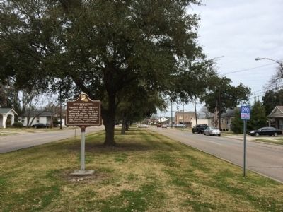 View of marker looking north on Franklin Avenue. image. Click for full size.