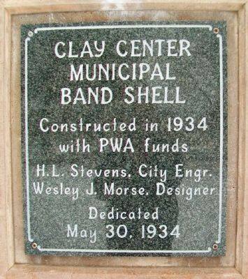 Clay Center Municipal Band Shell Marker image. Click for full size.