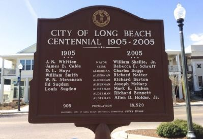 City of Long Beach Centennial 1905-2005 Marker (Rear) image. Click for full size.