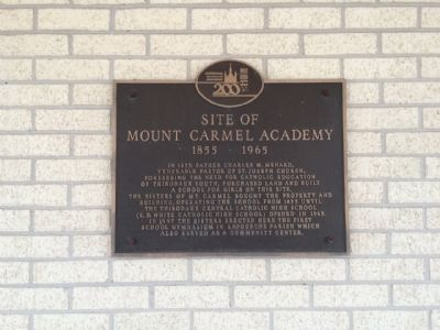 Site of Mount Carmel Academy Marker image. Click for full size.