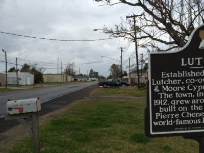 View of marker looking north on Lutcher Avenue. image. Click for full size.