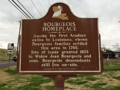 Bourgeois Homeplace Marker (Side 1) image. Click for full size.