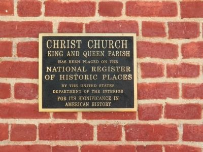 Christ Church King and Queen Parish Marker image. Click for full size.