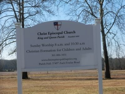 Sign at entrance to the Christ Church King and Queen Parish image. Click for full size.