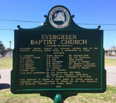 Evergreen Baptist Church Marker (Side 2) image. Click for full size.