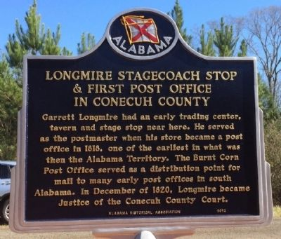 Longmire Stagecoach Stop & First Conecuh County Post Office Marker image. Click for full size.