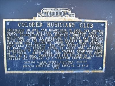 Colored Musicians' Club Marker image. Click for full size.