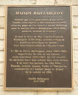 Maison Baillargeon Marker image. Click for full size.
