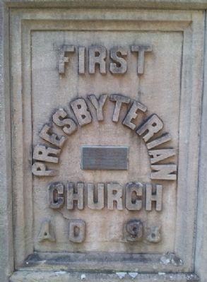 First Presbyterian Church Cornerstone and Marker image. Click for full size.