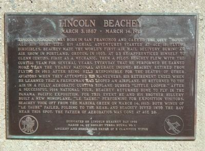 Lincoln Beachey Marker image. Click for full size.