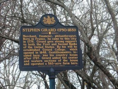 Stephen Girard (1750 -1831) Marker image. Click for full size.