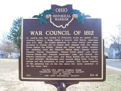 War Council of 1812 Marker image. Click for full size.