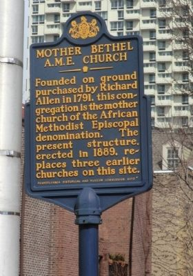 Mother Bethel A.M.E. Church Marker image. Click for full size.